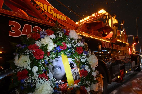 Celebration of life for fallen Vulcan Towing & Recovery operator Hans Michael Moore on Wednesday evening, Dec. 2, 2020, at Tikahtnu Commons in Muldoon. (Bill Roth / ADN)