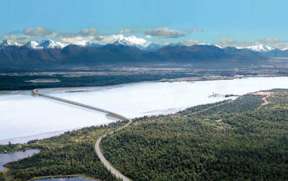 An artist's rendering of the proposed Knik Arm crossing connecting Anchorage and the Mat-Su. (Alaska Department of Transportation of Public Facilities)
