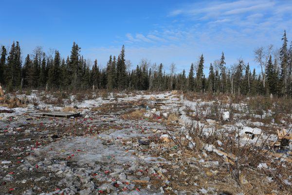 A winter's worth of shooting trash on public land near Kenai in April 2017. (Steve Meyer)