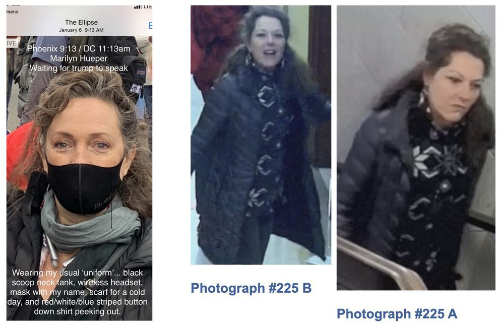 This composite photo illustration shows a photograph of Marilyn Hueper, left, that was taken on Jan. 6, 2021 and provided by Hueper, next to two images published by the FBI (on the right) showing an unidentified woman in the U.S. Capitol on the same date. (Photo composite)