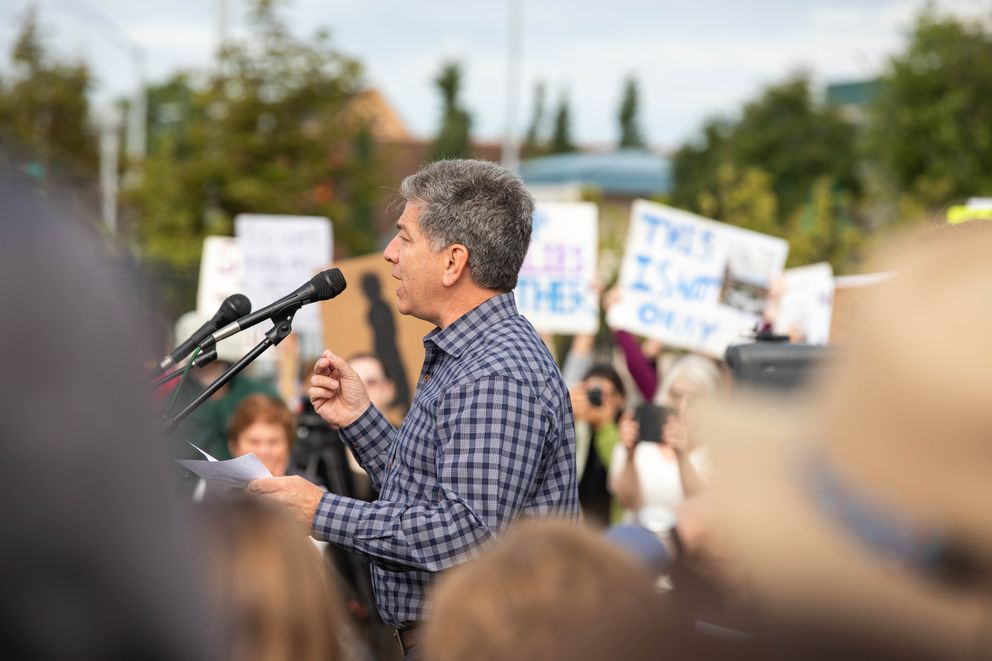 Anchorage mayor Ethan Berkowitz speaks at the Families Belong Together rally Saturday at Delaney Park. The rally was organized to protest the separation of migrant children from their families. (Loren Holmes / ADN)