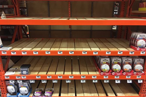 Carbon monoxide detectors were out of stock at the Home Depot store on Anchorage's Tudor Road on Thursday, March 9, 2017. Some detectors were restocked Friday, according to store staff. (Chris Klint / Alaska Dispatch News)