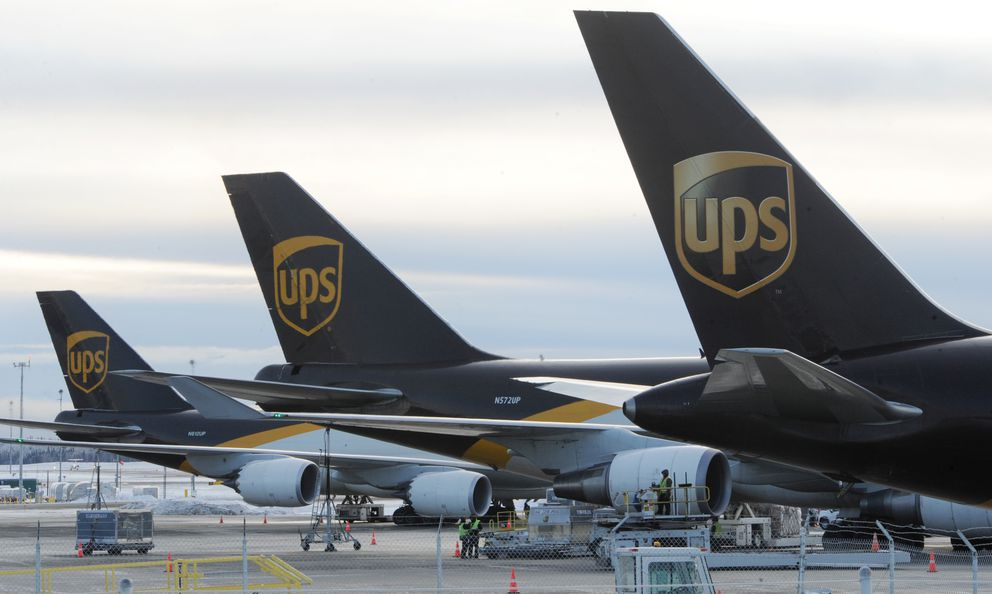 UPS planes make a refueling stop at Ted Stevens Anchorage International Airport on Thursday. (Bill Roth / ADN)