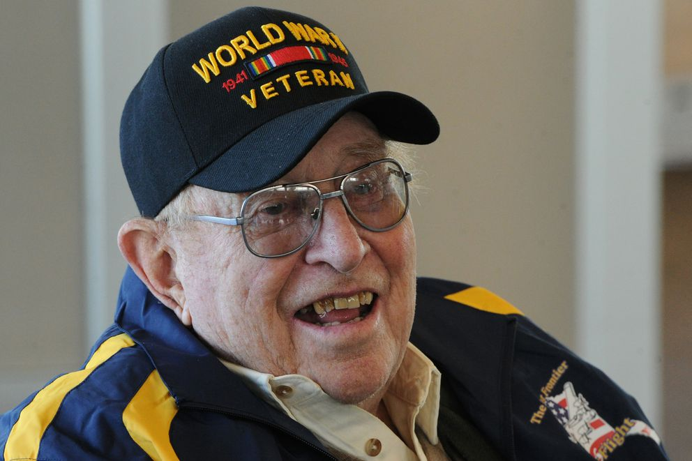 Clem Tillion, 93, a WWII veteran, served 2 1/2 years overseas as a Seabee in the United States Naval Construction Battalions in Guadalcanal. Tillion said, 'I took down unexploded ordnance, Japanese and American land mines. ' (Bill Roth / ADN)