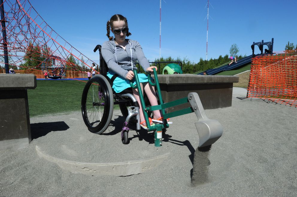 Anna Boltz, 11, plays at the South Anchorage Sports Park playground. (Bill Roth / ADN)