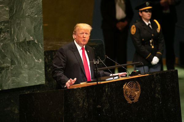 President Donald Trump speaks during the UN General Assembly meeting in New York, on Sept. 25, 2018. MUST CREDIT: Bloomberg photo by Jeenah Moon