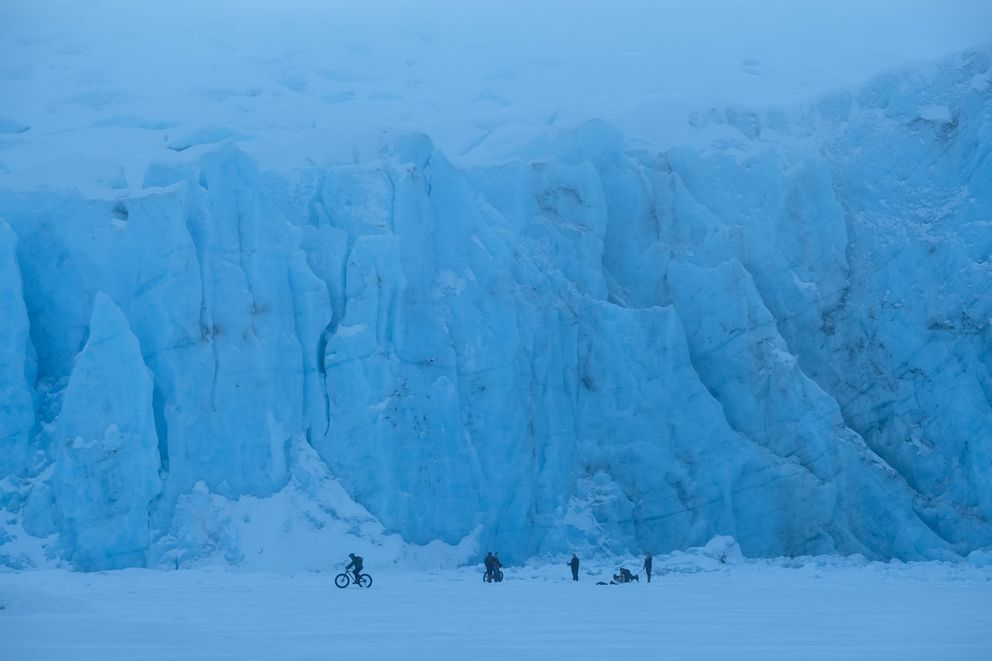 Cyclists, skiers and walkers visited Portage Glacier. January 2, 2017. (Marc Lester / Alaska Dispatch News)