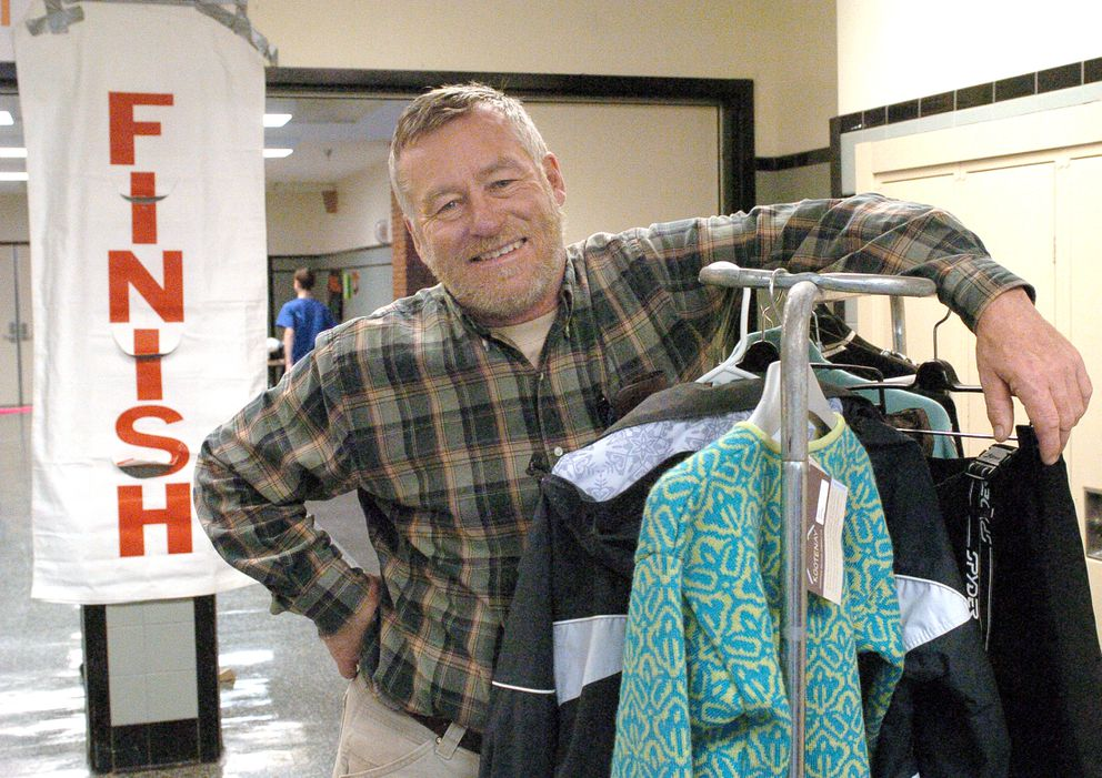 Former UAA ski coach Paul Crews helps out at the 2007 Ski Swap sponsored by the UAA ski team and the Alyeska Ski Club. (Jim Lavrakas / Anchorage Daily News)