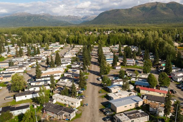The Rangeview Mobile Home Park in East Anchorage on Thursday, Aug. 30, 2018. (Loren Holmes / ADN)