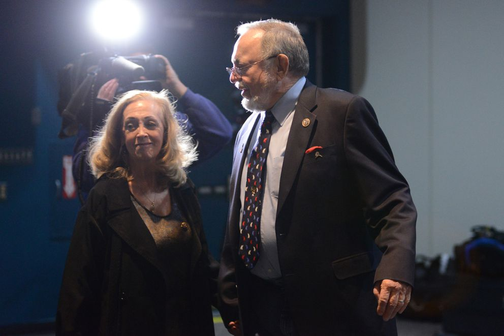Don Young walks with his wife Anne at Election Central, Nov. 6, 2018. (Anne Raup / ADN)