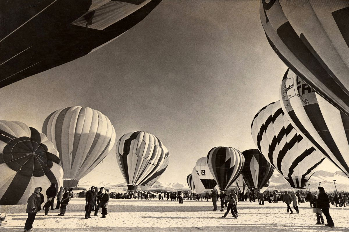 Hot air balloons prepare for takeoff at the 1983 Fur Rondy in Anchorage. (TOM ALVAREZ / Anchorage Daily News archive)