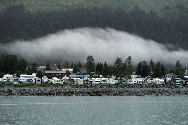 Seward Waterfront Park wakes up to a wet morning as seen from Resurrection Bay. (Erik Hill / ADN archive 2016)