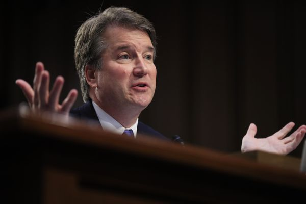 FILE - In this Sept. 5, 2018, file photo, Supreme Court nominee Brett Kavanaugh testifies before the Senate Judiciary Committee on Capitol Hill in Washington. Combat won out over caution. White House aides and congressional allies worked all week to keep President Donald Trump from unloading on the woman who has accused Kavanaugh of sexual misconduct. (AP Photo/Manuel Balce Ceneta)