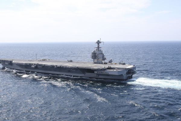 The aircraft carrier USS Gerald R. Ford steams in the Atlantic Ocean. MUST CREDIT: U.S. Navy photo by Mass Communication Specialist 2nd Class Ryan Litzenberger.