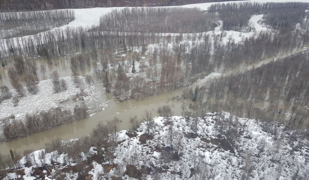Flooding and overflow ice shut down Alaska Railroad train service north of Talkeetna on Saturday morning, May 12, 2018, and is expected to last through Monday. (Courtesy Alaska Railroad)