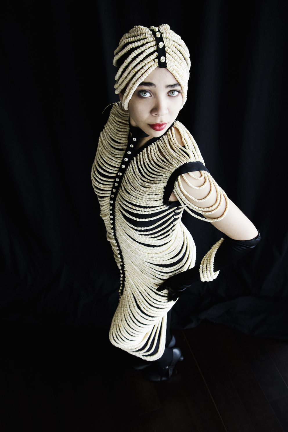 A dress draped with 20,000 salmon bones by Sitka artist Cynthia Gibson. (Stephanie Lambdin Productions)