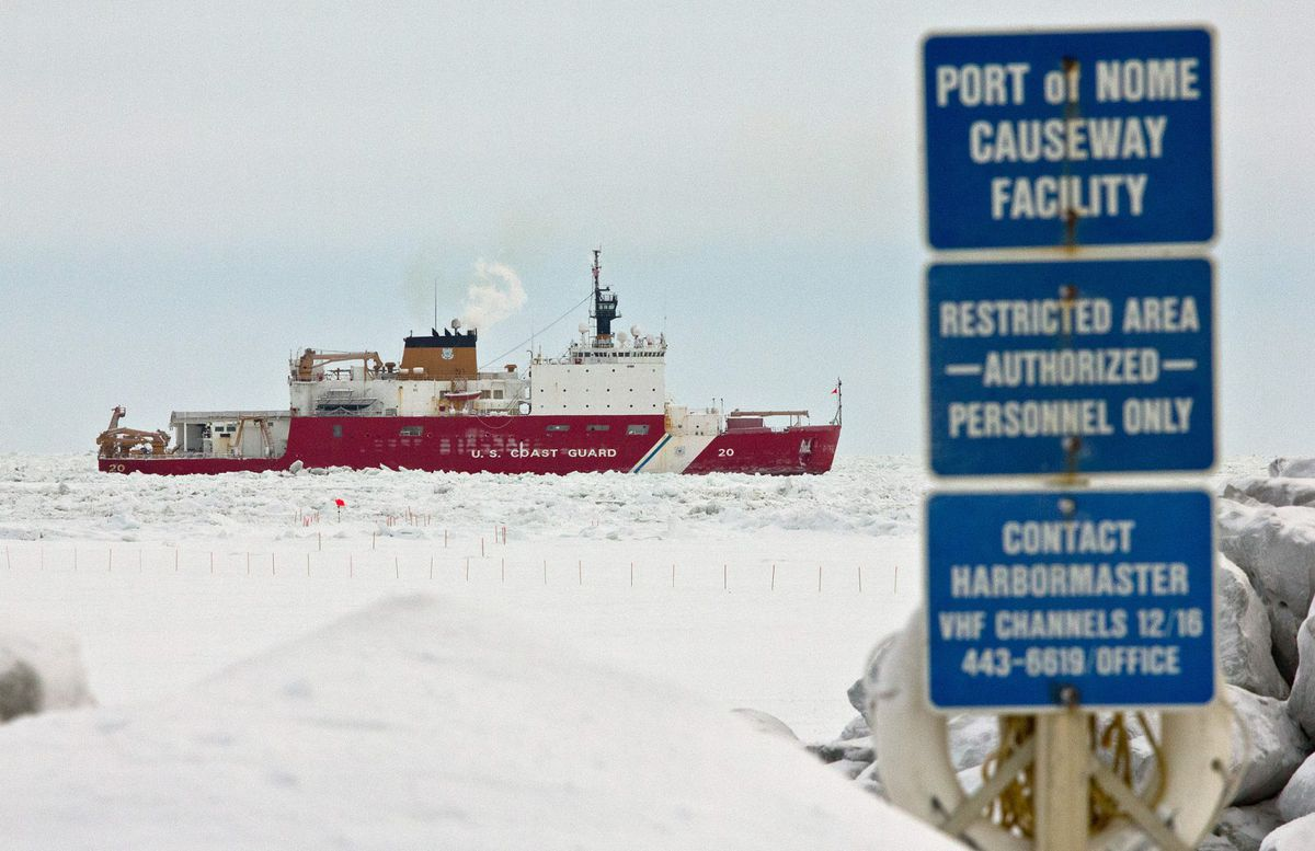 The U.S. Coast Guard Cutter Healy viewed from the Port of Nome causeway. (ADN archive)