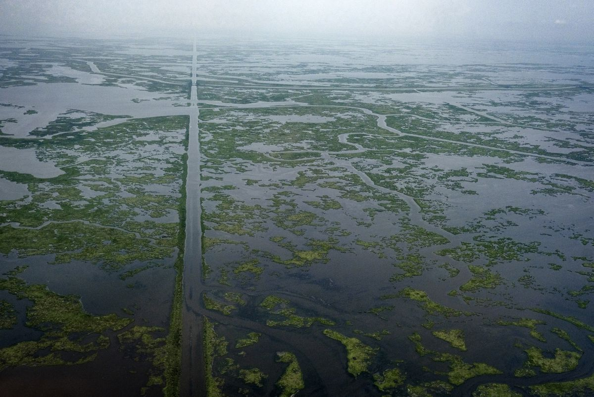 A gas transmission pipeline cuts the landscape in St. Bernard Parish, La., on July 21, 2018. Pipelines run from the Gulf to refineries in coastal Louisiana. Washington Post photo by Bonnie Jo Mount