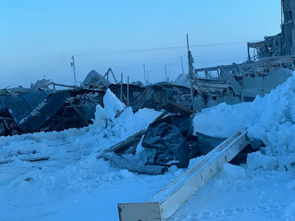 Only metal scraps and pieces of Kaktovik's Harold Kaveolook School were left Saturday, Feb. 8, 2020 after a fire burned down much of the building the day before. (Photo from Amanda Kaleak)