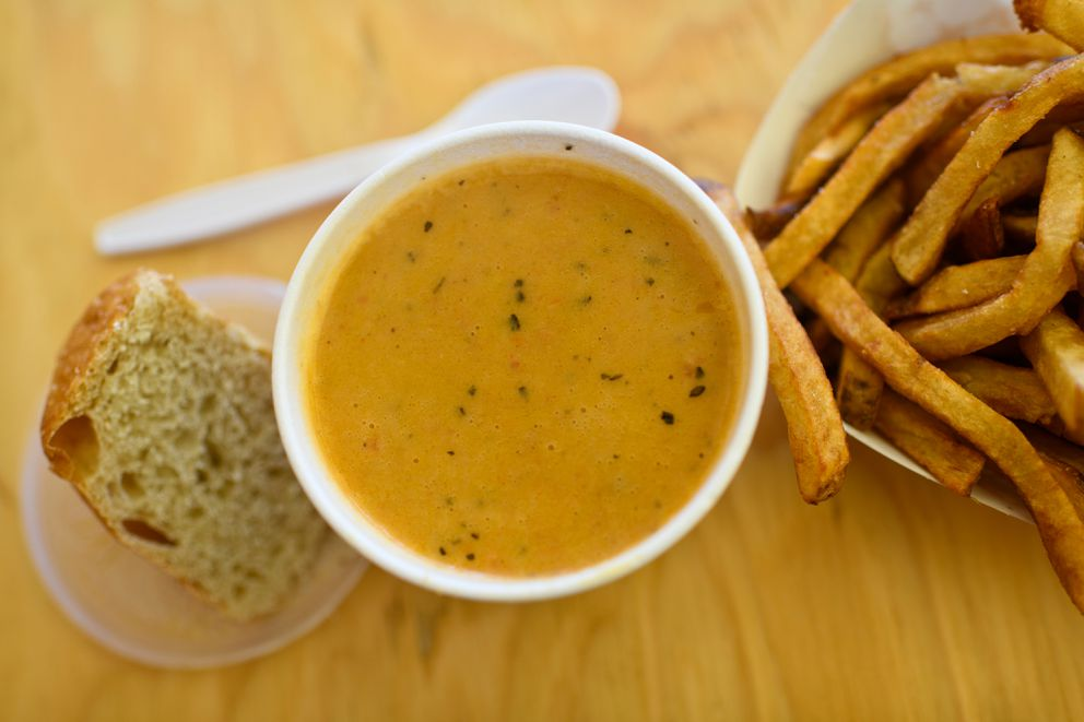 Crab bisque and fries are are served from the Crab Shack at the Alaska State Fair on August 28, 2018. (Marc Lester / ADN)