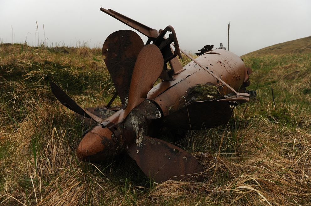 A Japanese World War II mini submarine rests on the tundra as The US Fish and Wildlife Service research boat R/V Tiglax stops at Kiska Island in the Aleutian Islands on Saturday, June 6, 2015. (Bob Hallinen / ADN)