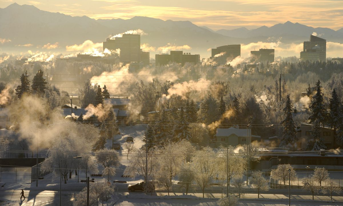 Steam rises from building in Midtown Anchorage during the cold snap on Sunday, Jan. 5, 2020. (Bill Roth / ADN)