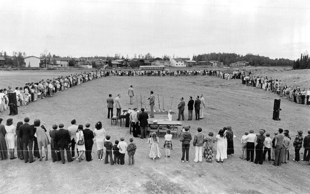 File photo: 1976 groundbreaking for a gymnasium and additional classrooms for Anchorage Christian Schools at the Anchorage Baptist Temple on East Northern Lights Boulevard in Anchorage.(ADN archive 1976)