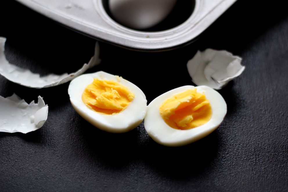 A temperature of 325 degrees and baking time of 26-28 minutes works well for hard-cooked eggs. (Maya Wilson / Alaska from Scratch)