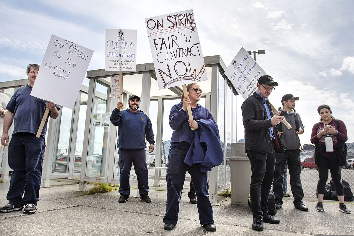 Alaska Marine Highway System workers strike with the Inlandboatmen's Union of the Pacific after failing to reach agreement on a contract with the state of Alaska, Wednesday, July 24, 2019, in Ketchikan, Alaska. (Dustin Safranek/Ketchikan Daily News via AP)