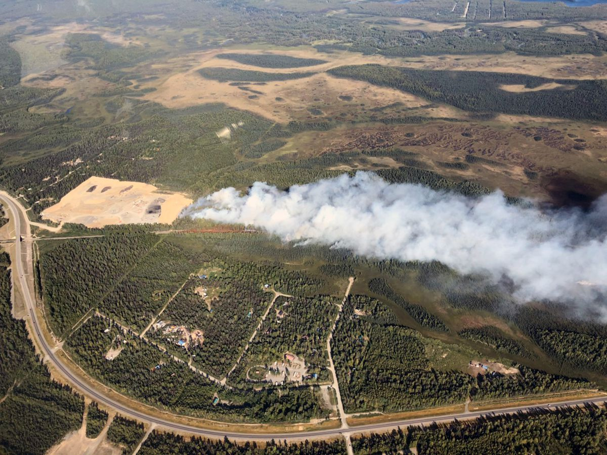 An aerial photo of the McKinley fire burning near Mile 91, east of the Parks Highway, on Saturday, Aug. 17, 2019. (Tim Whitesell / Alaska Division of Forestry)