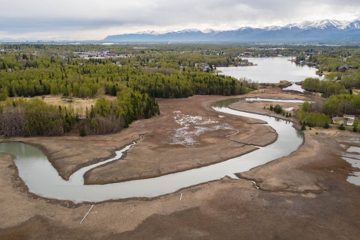 Campbell Creek empties out of Campbell Lake on May 16 at the Campbell Creek Estuary Park, at left. The Friends of the Anchorage Coastal Wildlife Refuge are spearheading an effort to ban pets from this fragile South Anchorage estuary. (Loren Holmes / ADN)