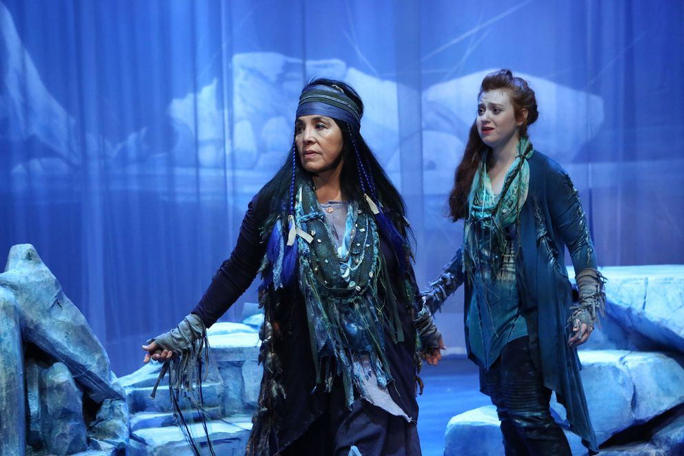 """Jane Lind portrays Whale Priestess and Ashleigh Watt plays Nayak in Perseverance Theatre's """"Whale Song."""" (Photo by Brian Wallace for Perseverance Theatre)"""