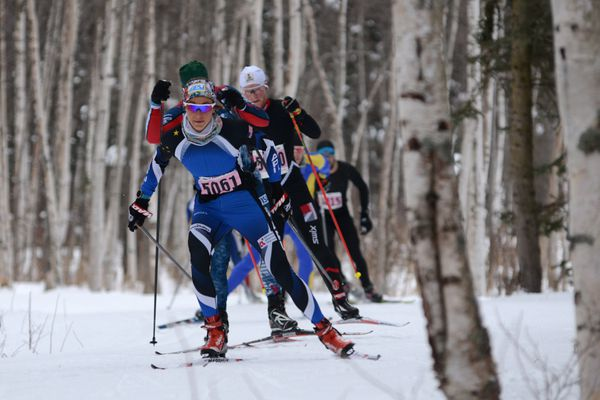 Jessica Yeaton leads a pack of skiers along the Chester Creek trail during the Tour of Anchorage 50K race, Sunday, March 8, 2020. (Anne Raup / ADN)