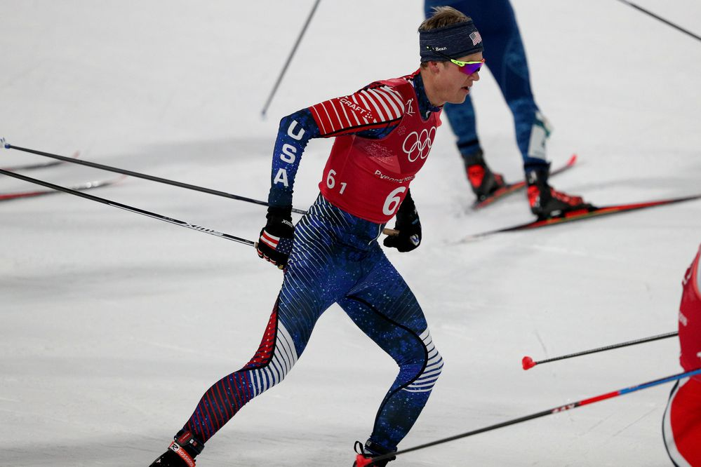 Feb 21, 2018; Pyeongchang, South Korea; Erik Bjornsen (USA) competes in the cross-country skiing team sprint freestyle event during the Pyeongchang 2018 Olympic Winter Games at Alpensia Cross-Country Centre. Mandatory Credit: Matt Kryger-USA TODAY Sports