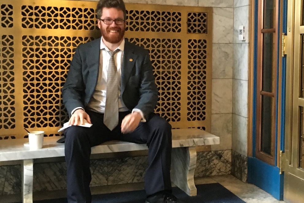 Juneau Democratic Rep. Justin Parish poses at the Alaska Capitol on Thursday, January 19, 2017. Parish is collecting $160 a day in