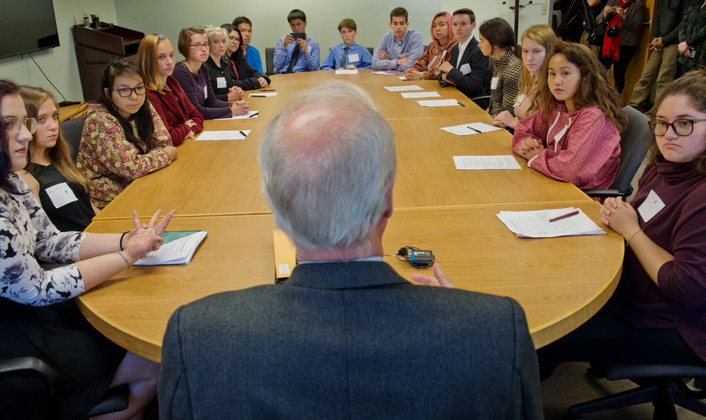 Seventeen teens from Alaska Youth for Environmental Action speak with Hartig. (Marc Lester / Alaska Dispatch News)