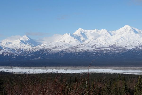 The Delta River flows through and past Alaska Range peaks. (Photo by Ned Rozell)