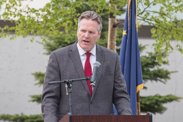 Governor Mike Dunleavy attended a Silver Lifesaving Medal award event Saturday, May 18, 2019 at the Atwood Building courtyard. George