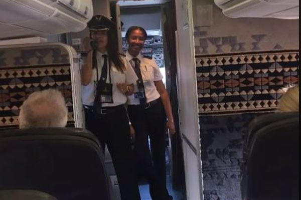 A screenshot of a video posted to Facebook of Alaska Airlines Capt. Tara Wright announcing the first-ever Alaska Airlines flight piloted by two African American female pilots. May 13, 2018. (Screenshot from Tara Wright video)