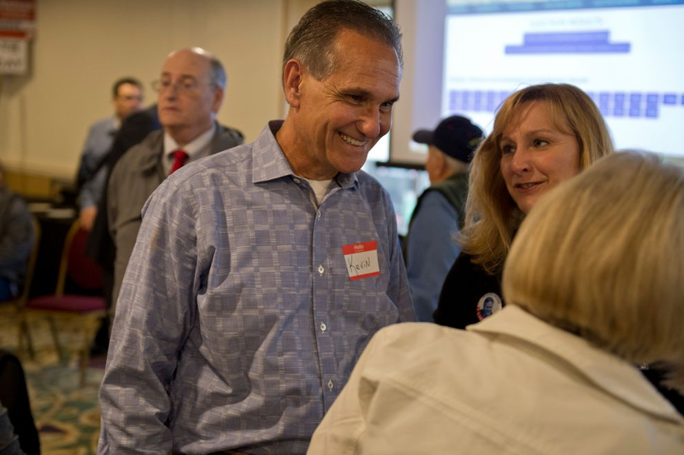 Kevin Meyer, candidate for lieutenant governor, talks with others at a Republican party held at the Aviator Hotel on August 21, 2018. (Marc Lester / ADN)
