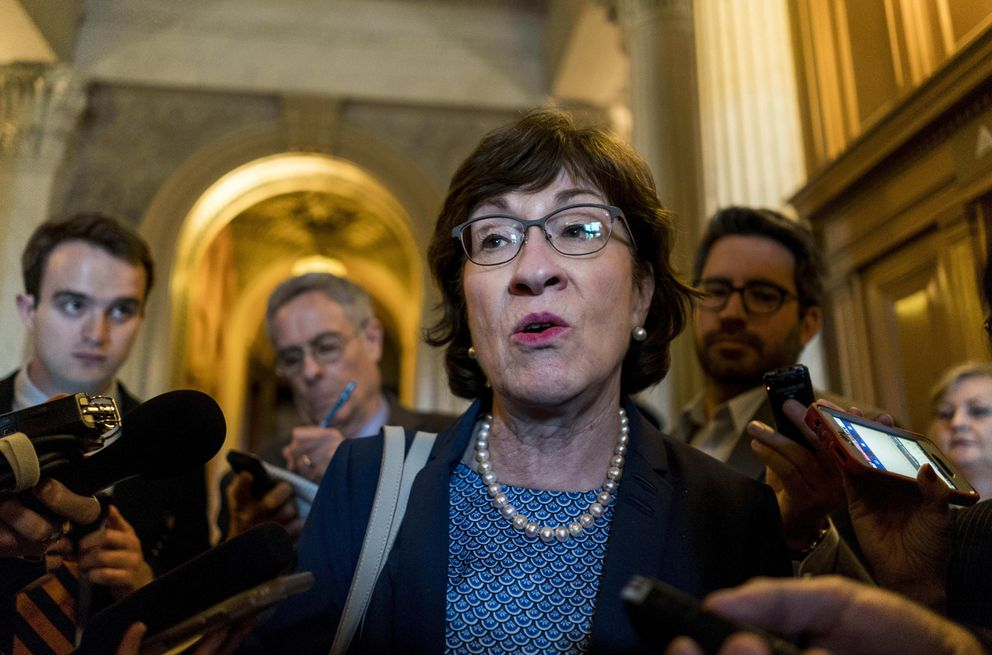 Sen. Susan Collins of Maine, above on Capitol Hill in April, and Alaska Sen. Lisa Murkowski will be the target of intense lobbying as President Trump is expected to put forward a pick who would shift the Supreme Court in a more conservative direction. MUST CREDIT: Washington Post photo by Melina Mara