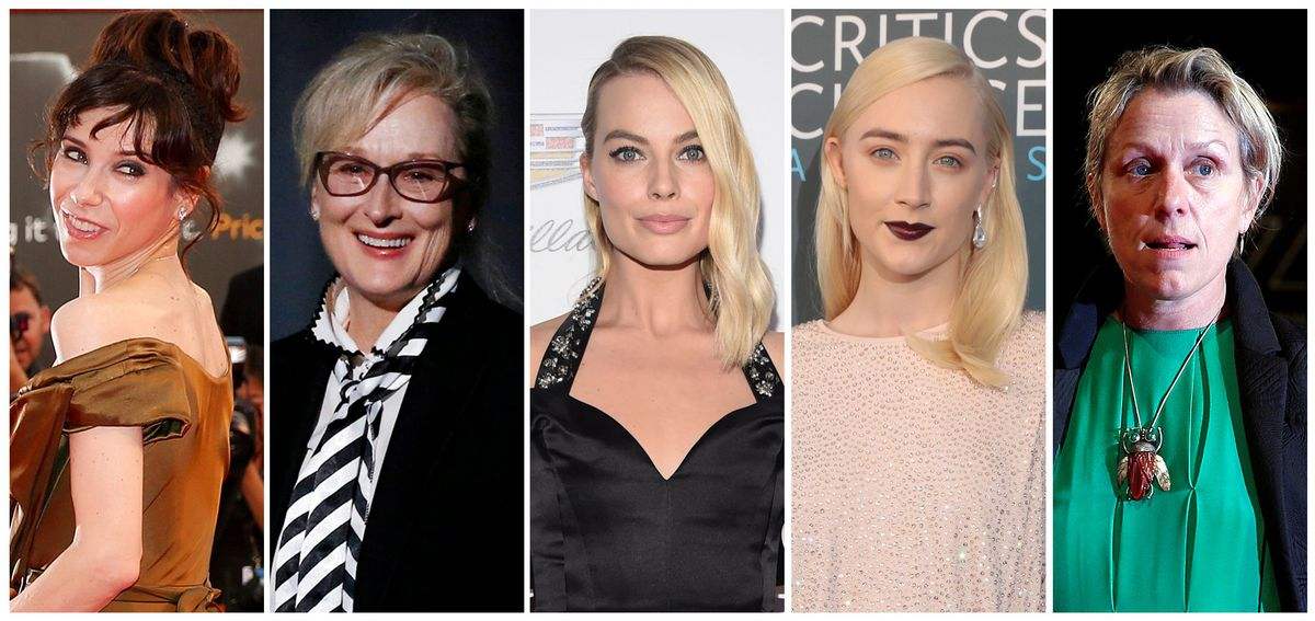 Best actress nominees (L-R) Sally Hawkins, Meryl Streep, Margot Robbie, Saoirse Ronan and Frances McDormand. REUTERS/Staff/File Photos