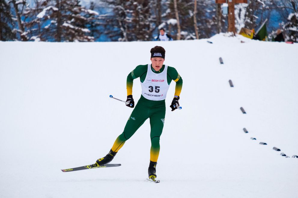 UAA's JC Schoonmaker competes in the Alaska Cup cross-country ski race Saturday, Dec. 7, 2019 at Government Peak. (Courtesy Chase Burnett)