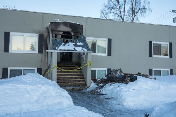 Two people received minor injuries during a fire at a downtown Anchorage apartment building early Thursday, March 9, 2017. (Loren Holmes / Alaska Dispatch News)