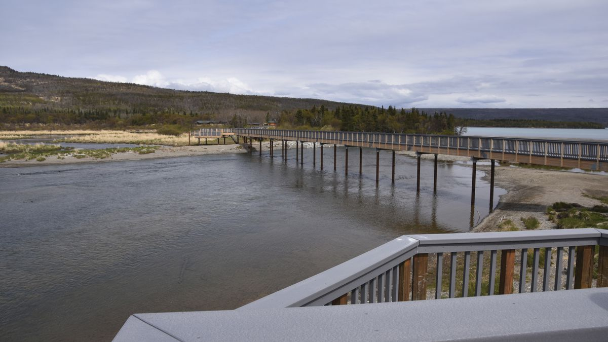 This undated photo shows a new bridge over the Brooks River at Katmai National Park and Preserve in Alaska. The National Park Service has completed the new bridge, constructed to halt heart-stopping encounters between human pedestrians and brown bears both using the old bridge. (Barbara Lutes/National Park Service via AP)