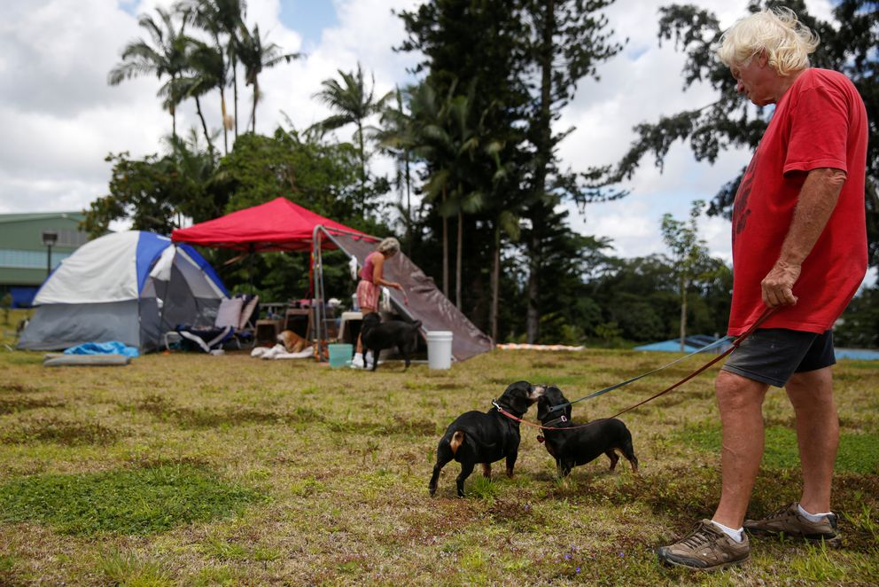 Eddie McLaren walks his dogs Tuesday near tents at a Red Cross evacuation center in Pahoa during ongoing eruptions of the Kilauea volcano. REUTERS/Terray Sylvester