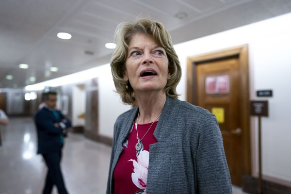 Sen. Lisa Murkowski, R-Alaska, pauses to speak to reporters about the cyberattack on Colonial Pipeline as she leaves a Senate Energy and Natural Resources Committee hearing on Capitol Hill in Washington, Tuesday, May 18, 2021. Murkowski joined Sen. Joe Manchin, D-W.Va., this week in calling on Congress to reauthorize the Voting Rights Act rather than struggle with the impasse of the