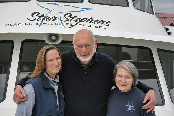 Colleen Stephens stands next to her parents, Stan and Mary Helen Stephens. Stan died in 2013 and Colleen now runs the company, Stan Stephens Cruises. Photo: Scott McMurren