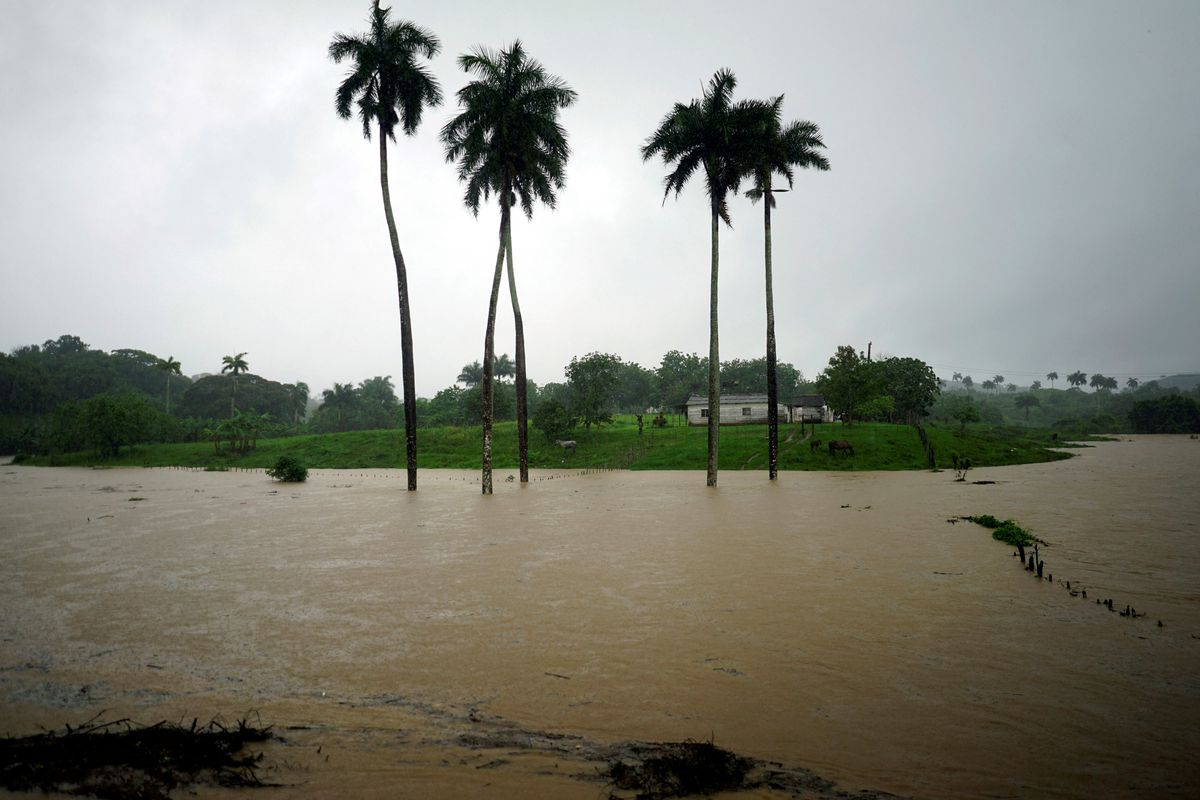 A view of a partially flooded farm as Subtropical Storm Alberto passes by the west coast of Cuba, in Bahia Honda, Cuba, May 26, 2018. REUTERS/Alexandre Meneghini