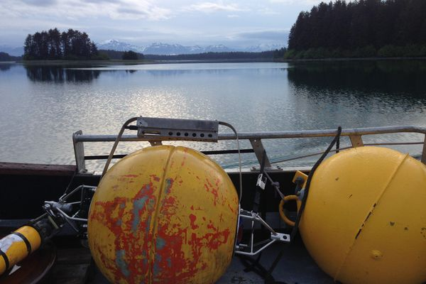 A view of the Gulf of Alaska from aboard a boat used to deploy sensors that are helping to determine whether wave-power conversion to electricity is feasible in Yakutat. Photo by Jeremy Kasper.